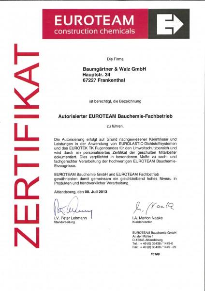 Zertifikat: Euroteam Bauchemie-Fachbetrieb