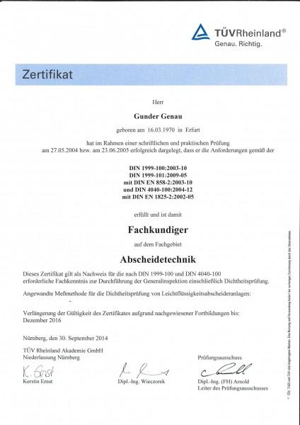 Zertifikat Fachkundenachweis