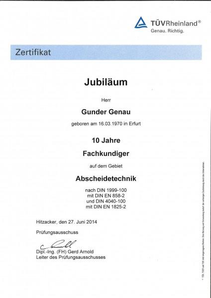 LGA Urkunde 10 Jahre Fachkundiger GG 27.06.2014