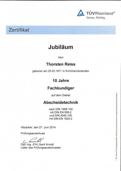 LGA Urkunde 10 Jahre Fachkundiger TR 27.06.2014