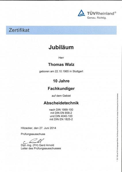 LGA Urkunde 10 Jahre Fachkundiger TW 27.06.2014