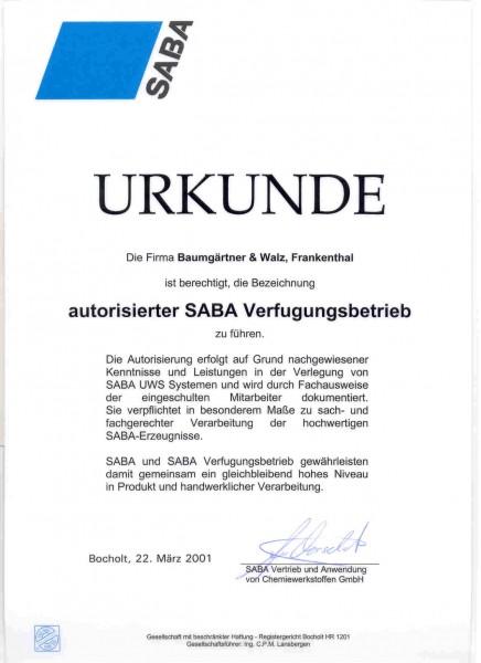 SABA-Fachbetriebsurkunde