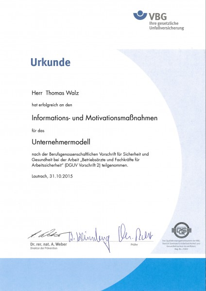 Urkunde Thomas Walz Fachkraft Arbeitssicherheit