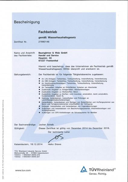 WHG-Fachbetriebsnachweis bis 2016