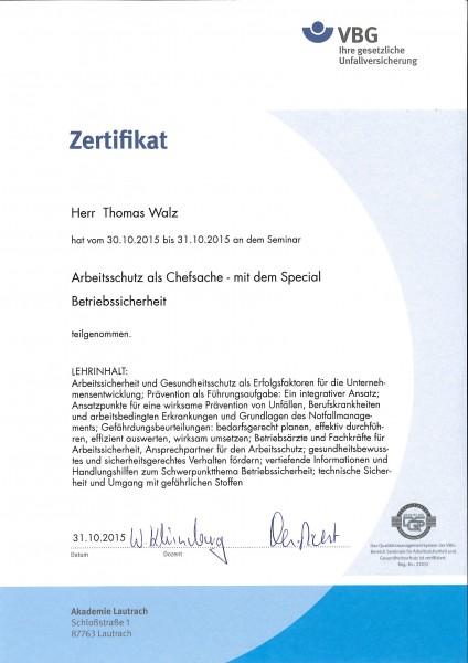 Zertifikat Thomas Walz - Arbeitsschutz als Chefsache mit dem Special Betriebssicherheit